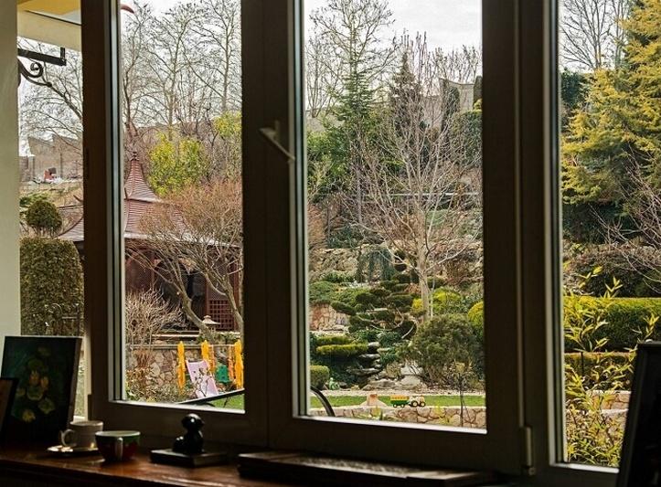 Вид на сад из окна
