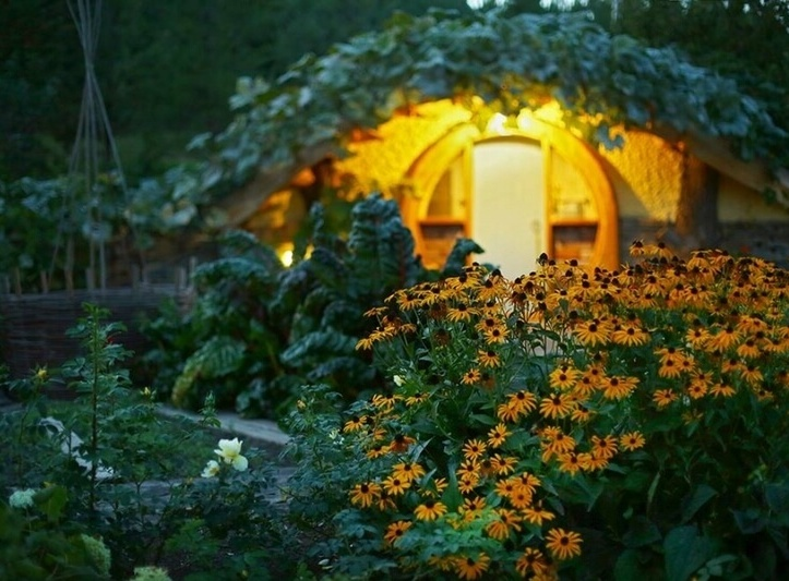 Вид на погреб из цветника или огорода